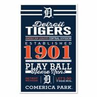 Detroit Tigers Established Wood Sign