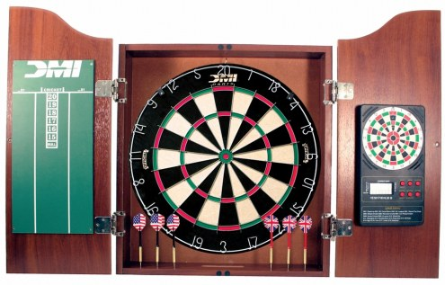 DMI Darts Cherry Dartboard Cabinet With Electronic Scorer Bristle Dart Board Cabinet Set