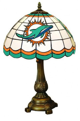 Miami Dolphins NFL Stained Glass Table Lamp