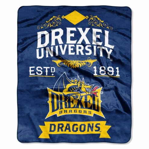 Drexel Dragons Label Raschel Throw Blanket