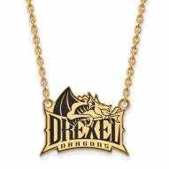 Drexel Dragons Sterling Silver Gold Plated Large Pendant Necklace