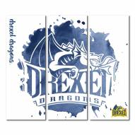 Drexel Dragons Triptych Watercolor Canvas Wall Art