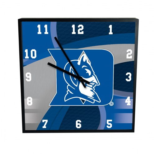 Duke Blue Devils Carbon Fiber Square Clock
