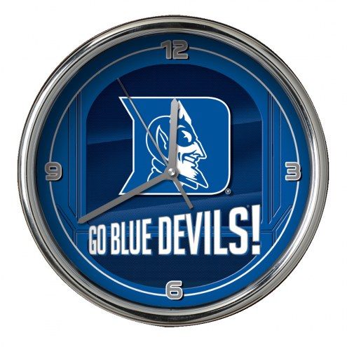 Duke Blue Devils Go Team Chrome Clock