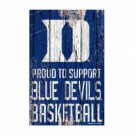 Duke Blue Devils Proud to Support Wood Sign