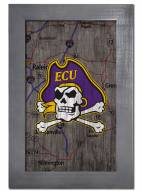"East Carolina Pirates 11"" x 19"" City Map Framed Sign"