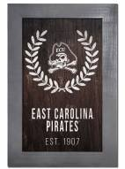 "East Carolina Pirates 11"" x 19"" Laurel Wreath Framed Sign"