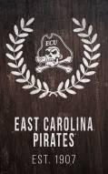 "East Carolina Pirates 11"" x 19"" Laurel Wreath Sign"