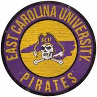 "East Carolina Pirates 12"" Circle with State Sign"