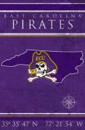 """East Carolina Pirates 17"""" x 26"""" Coordinates Sign"""