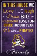"""East Carolina Pirates 17"""" x 26"""" In This House Sign"""