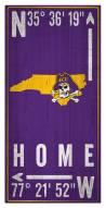 """East Carolina Pirates 6"""" x 12"""" Coordinates Sign"""