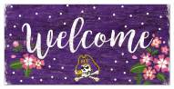 """East Carolina Pirates 6"""" x 12"""" Floral Welcome Sign"""