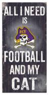 """East Carolina Pirates 6"""" x 12"""" Football & My Cat Sign"""
