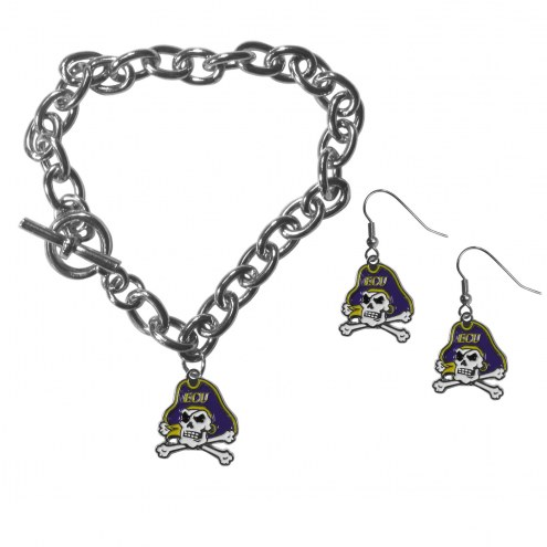 East Carolina Pirates Chain Bracelet & Dangle Earring Set