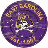 East Carolina Pirates Distressed Round Sign