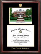 East Carolina Pirates Gold Embossed Diploma Frame with Campus Images Lithograph