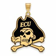 East Carolina Pirates Sterling Silver Gold Plated Extra Large Enameled Pendant