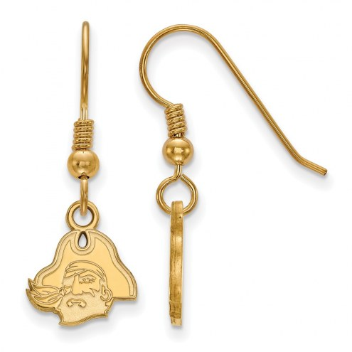 East Carolina Pirates Sterling Silver Gold Plated Extra Small Dangle Earrings