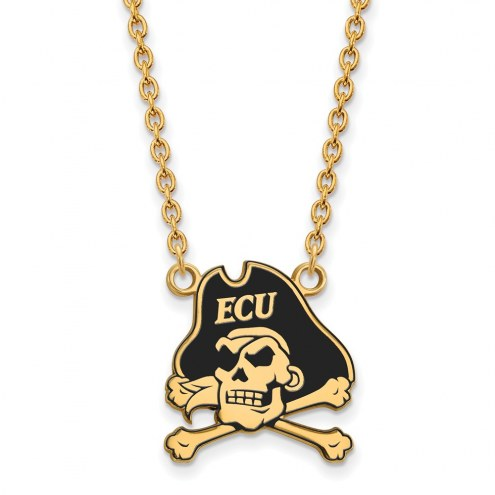 East Carolina Pirates Sterling Silver Gold Plated Large Enameled Pendant Necklace