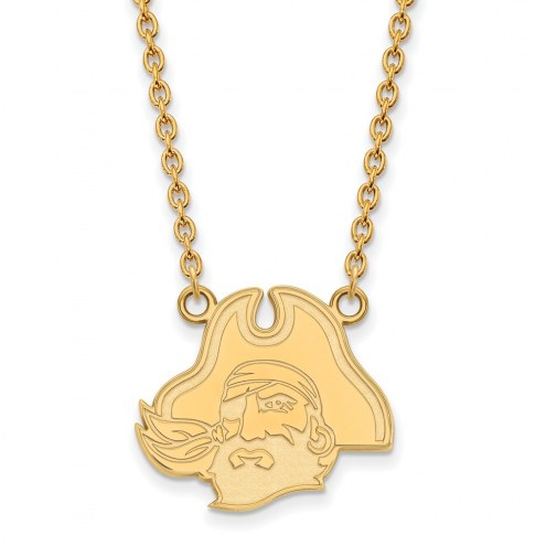 East Carolina Pirates Sterling Silver Gold Plated Large Pendant Necklace
