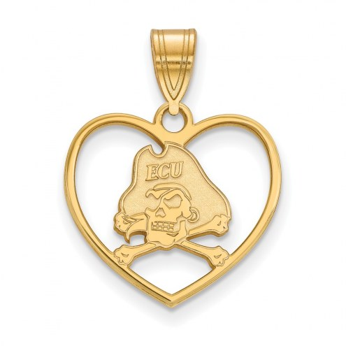 East Carolina Pirates NCAA Sterling Silver Gold Plated Heart Pendant