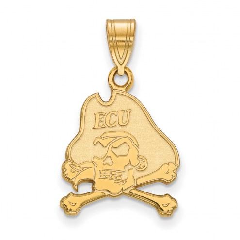 East Carolina Pirates NCAA Sterling Silver Gold Plated Medium Pendant