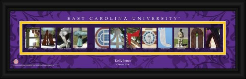 East Carolina Pirates Personalized Campus Letter Art