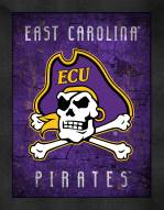 East Carolina Pirates Retro Logo Map Framed Print