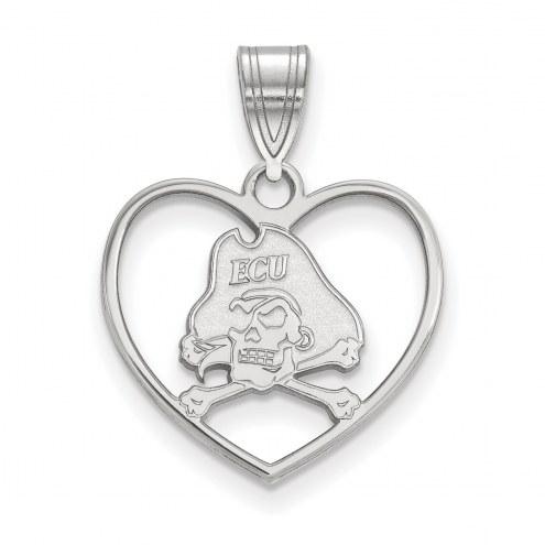 East Carolina Pirates Sterling Silver Heart Pendant