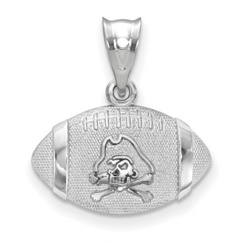 East Carolina Pirates Sterling Silver Football with Logo Pendant