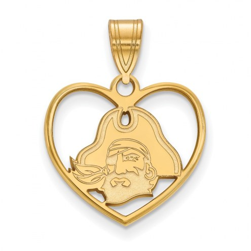 East Carolina Pirates Sterling Silver Gold Plated Heart Pendant