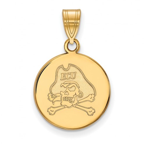 East Carolina Pirates Sterling Silver Gold Plated Medium Disc Pendant