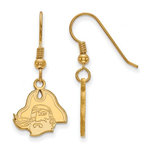 East Carolina Pirates Sterling Silver Gold Plated Small Dangle Earrings