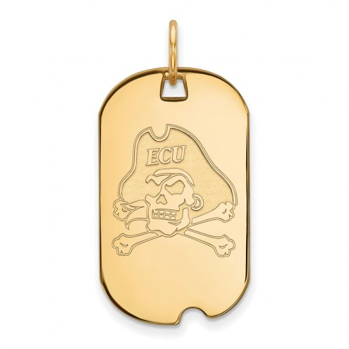 East Carolina Pirates Sterling Silver Gold Plated Small Dog Tag