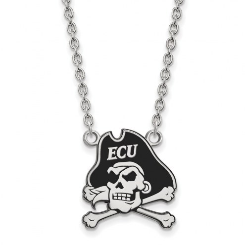 East Carolina Pirates Sterling Silver Large Enameled Pendant Necklace