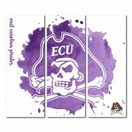 East Carolina Pirates Triptych Watercolor Canvas Wall Art