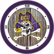 East Carolina Pirates Weathered Wood Wall Clock
