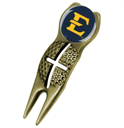East Tennessee State Buccaneers Gold Crosshairs Divot Tool
