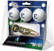 East Tennessee State Buccaneers Gold Crosshair Divot Tool & 3 Golf Ball Gift Pack