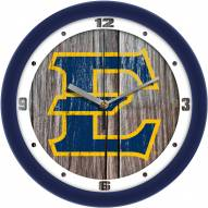 East Tennessee State Buccaneers Weathered Wood Wall Clock