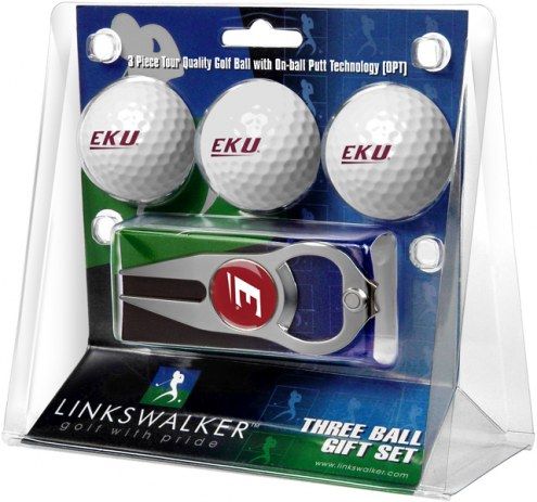 Eastern Kentucky Colonels Golf Ball Gift Pack with Hat Trick Divot Tool