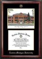 Eastern Michigan Eagles Gold Embossed Diploma Frame with Campus Images Lithograph