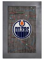 "Edmonton Oilers 11"" x 19"" City Map Framed Sign"