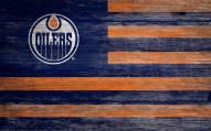 "Edmonton Oilers 11"" x 19"" Distressed Flag Sign"