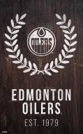 "Edmonton Oilers 11"" x 19"" Laurel Wreath Sign"