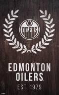 """Edmonton Oilers 11"""" x 19"""" Laurel Wreath Sign"""
