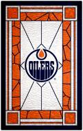 """Edmonton Oilers 11"""" x 19"""" Stained Glass Sign"""