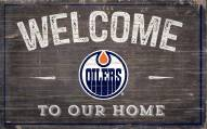 """Edmonton Oilers 11"""" x 19"""" Welcome to Our Home Sign"""