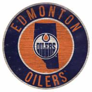 """Edmonton Oilers 12"""" Circle with State Sign"""